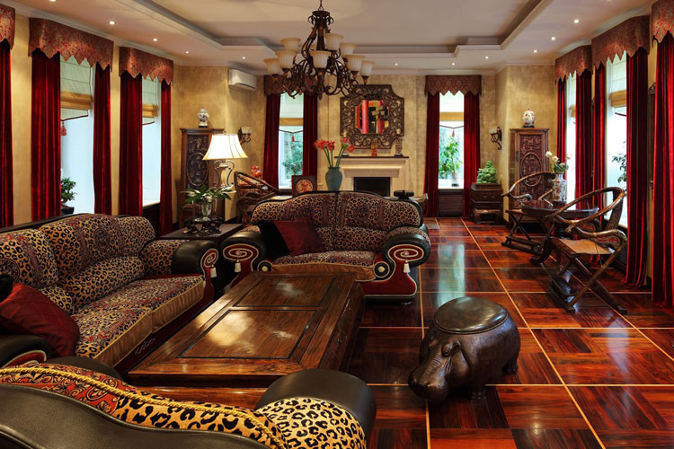 African Style Contemporary Living Room Interior