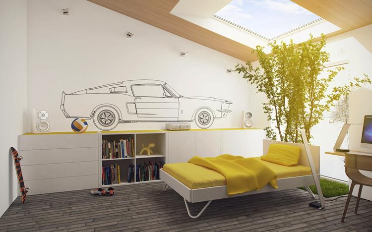 Yellow white kids room
